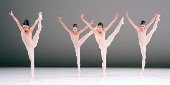 Dutch National Ballet Hans Van Manen - Master of Dance Grosse Fuge rehearsal at Sadler's Wells. London. Anu Viheriaranta, Jozef Varga, Anna Tsygankova, Alexander Zhembrovskyy, Igone de Jongh, Matthew Golding, Marisa Lopez, Cedric Ygnace. © Elliott Franks / eyevine Contact eyevine for more information about using this image: T: +44 (0) 20 8709 8709 E: info@eyevine.com http:///www.eyevine.com *** Local Caption *** 00665315