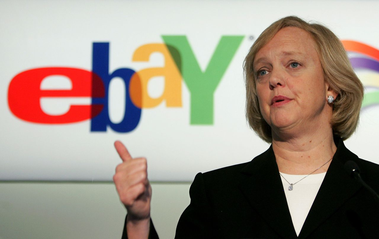 Meg Whitman van Ebay in Brussel: 'Ik viel op de hoge functionaliteit in combinatie met een emotionele lading.' Foto Reuters Online auction company EBay Inc.'s Chief Executive Meg Whitman addresses a news conference in Brussels February 7, 2006. Whitman ruled out any big acquisitions for the U.S. firm in 2006, saying it needed to digest acquisitions from last year, such as Internet telephone carrier Skype. REUTERS/Francois Lenoir
