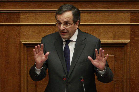 De Griekse premier Antonis Samaras eerder deze maand voorafgaand aan een stemming in het parlement over de begroting van 2014.