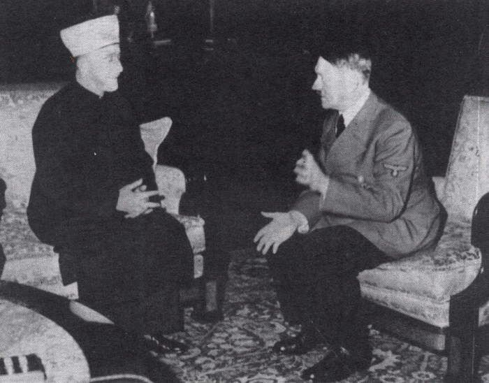 German Füher Adolf Hitler and Grand Mufti of Jerusalem Mohammad Amin Al-Husseini meet in Berlin, 30 November 1941. A Palestinian nationalist and a Muslim leader in Palestine and Egypt, Al-Husseini was one of the instigator of the Great Arab Revolt of 1936. In 1937 he took refuge in Nazi Germany and helped recruit Muslims for the Waffen-SS. The Grand Mufti established close contacts with Bosnian and Albanian in order to integrate Bosnian Muslims into several divisions of the Waffen SS and other units. The largest was the 13th Handschar division of 21,065 men which conducted operations against Communist partisans in the Balkans from February 1944. After the Second World War, Al-Husseini was sentenced by the Yugoslav Supreme Military Court to three years imprisonment and two years of deprivation of civil rights as convicted war criminal. He died in Beirut, Lebanon in 1974. AFP PHOTO