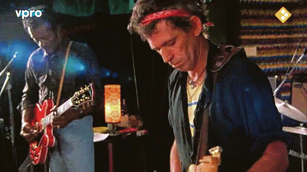 Fragment uit Chuck Berry. Hail! hail! Rock-'n-roll (1987) met norse Chuck Berry en Keith Richards.