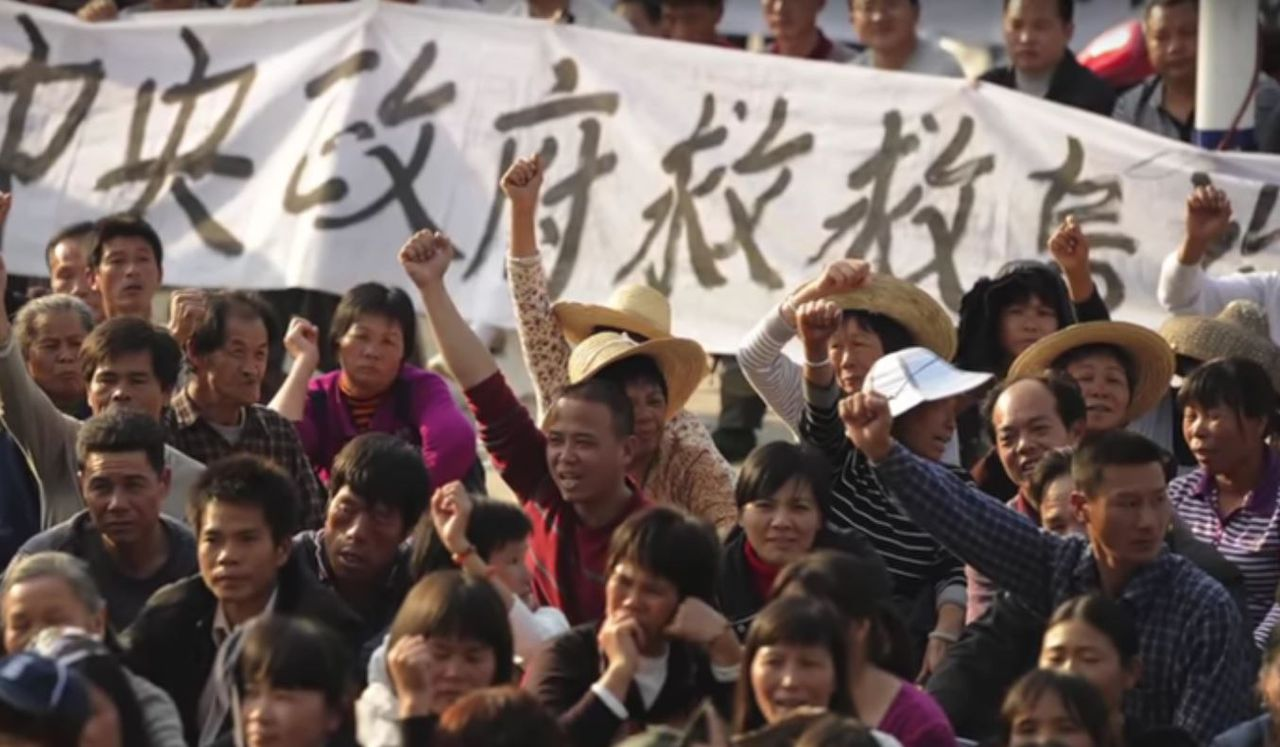 Protest in Wukan in 2011.