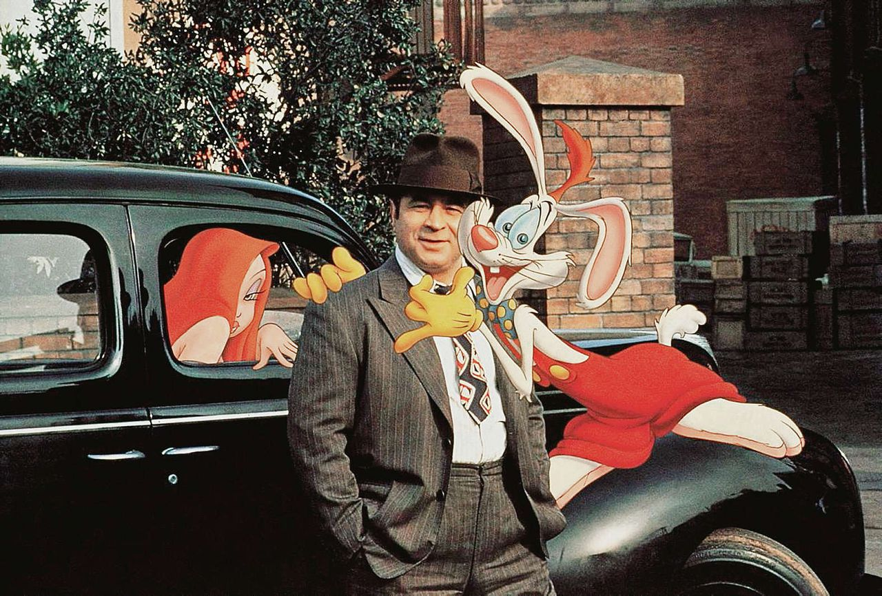 Bob Hoskins in de film 'Who framed Roger Rabbit' (1988).