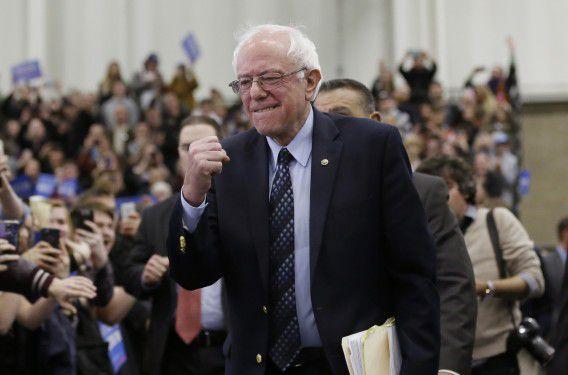 Democratische kandidaat Bernie Sanders tijdens een campagnebijeenkomst in Warren, in de staat Michigan.