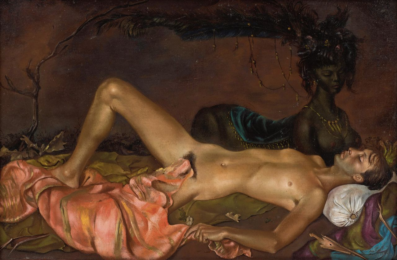 Leonor Fini: Chtonian Deity Watching over the Sleep of a Young Man, 1946,