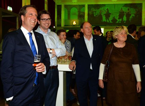 The leader of the pro-European D66 Party, Alexander Pechtold, is watching the election results in Nijmegen.