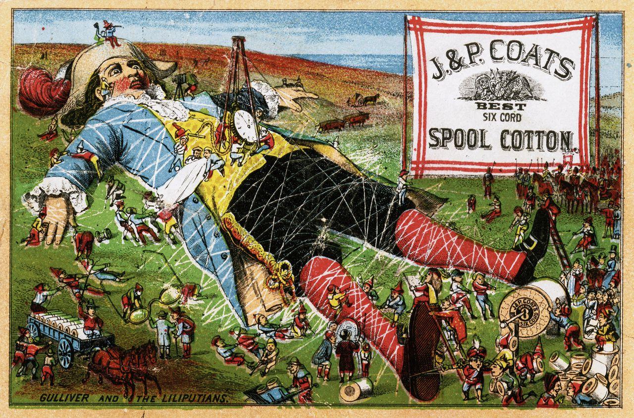 Advertentie voor een Londense garenfabriek, circa 1880.