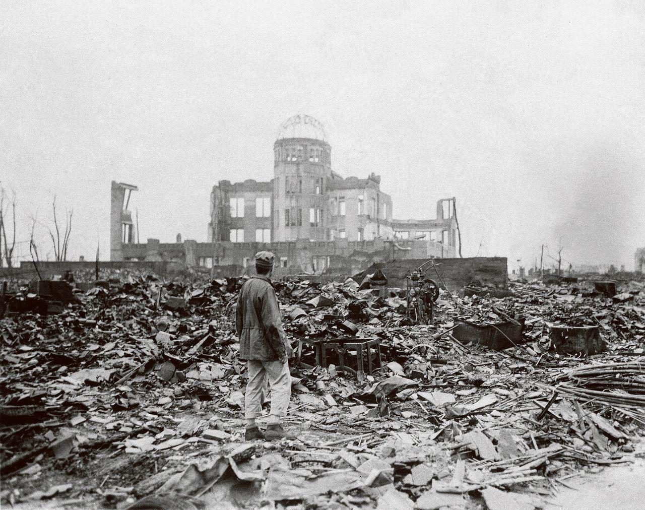 Hiroshima op 8 september 1945, een maand na vernietiging van de stad door de atoombom.