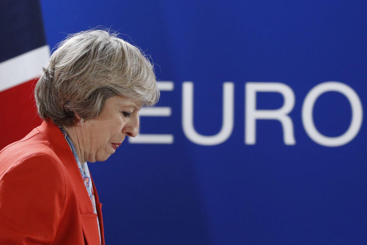 Theresa May tijdens een Europese top in oktober 2016.