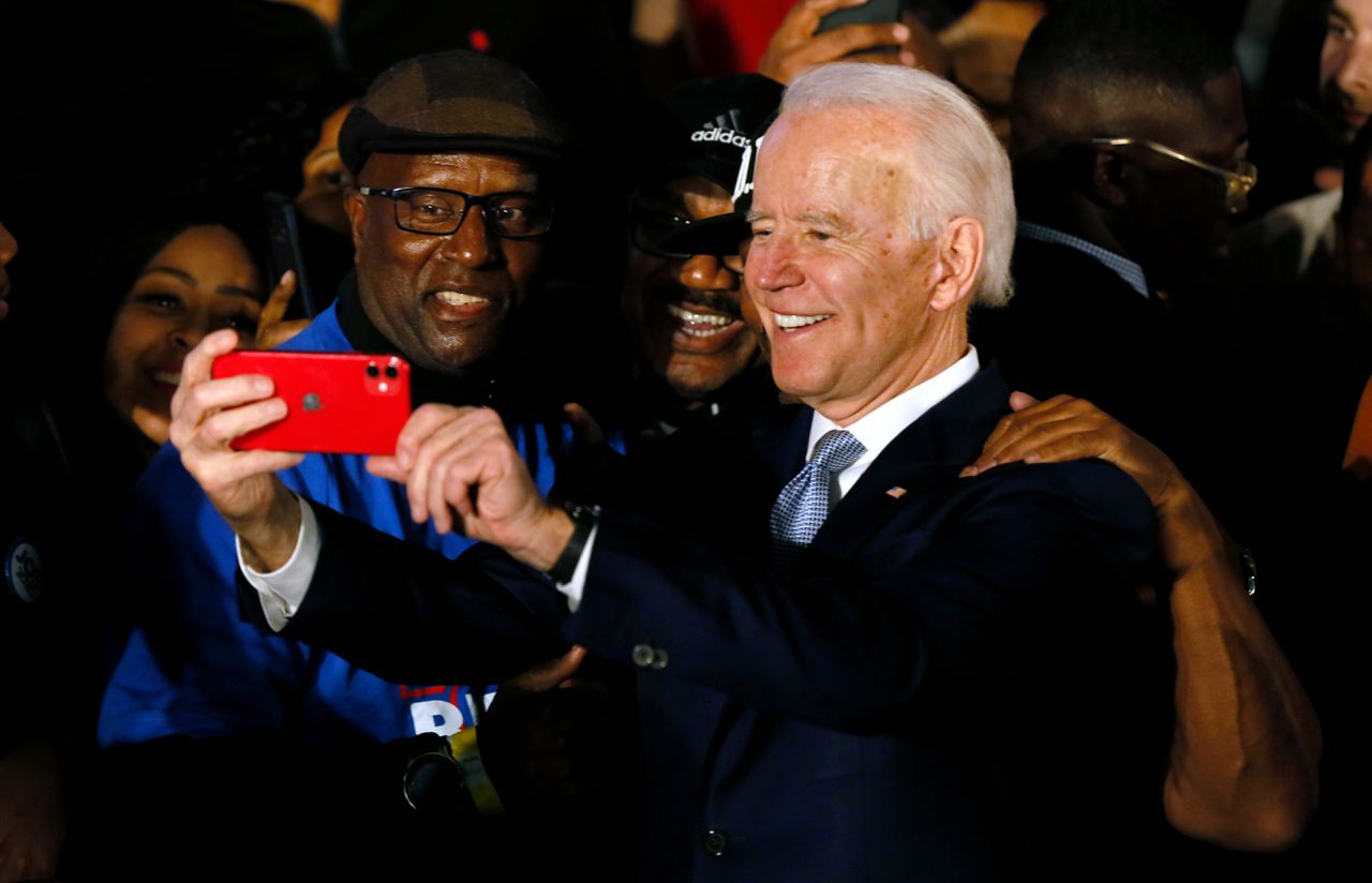Joe Biden tijdens een rally in South Carolina.