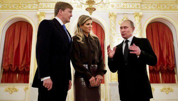 Koning Willem-Alexander en koningin Máxima afgelopen november in Moskou.