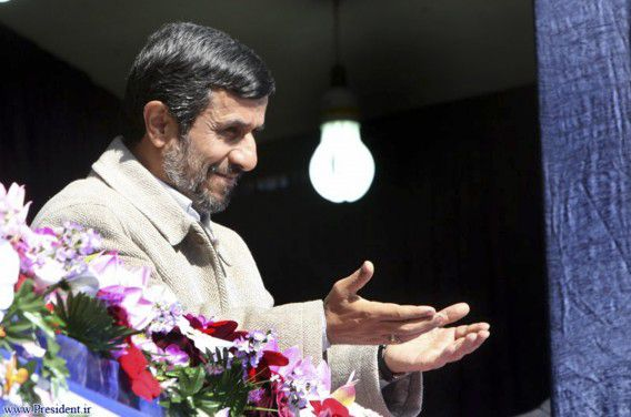 Iranian President Mahmoud Ahmadinejad gestures during his visit to speak in Shahrekord in Chahar Mahal and Bakhtiari province, 521 km (326 miles) southwest of Tehran, November 9, 2011. REUTERS/President.ir/Handout (IRAN - Tags: POLITICS) FOR EDITORIAL USE ONLY. NOT FOR SALE FOR MARKETING OR ADVERTISING CAMPAIGNS. THIS IMAGE HAS BEEN SUPPLIED BY A THIRD PARTY. IT IS DISTRIBUTED, EXACTLY AS RECEIVED BY REUTERS, AS A SERVICE TO CLIENTS