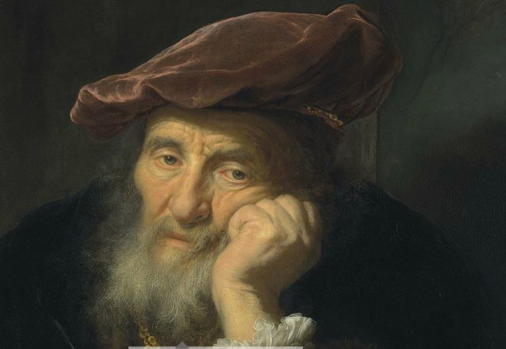 """""""Een oude man, leunend uit een raam"""" van Govert Flinck."""