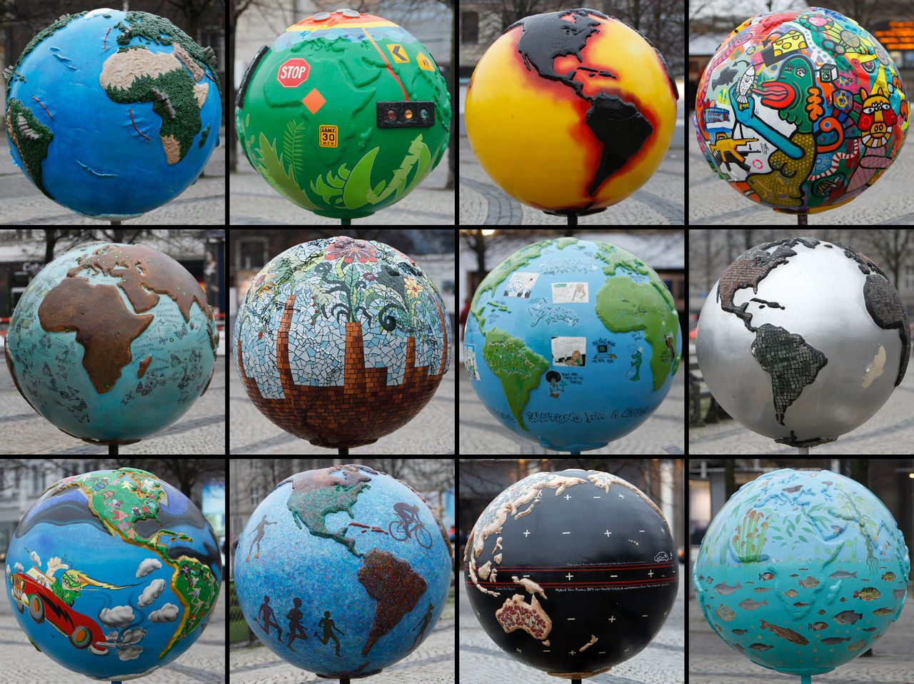A combination picture shows different globes as a part of an installation in downtown Copenhagen December 6, 2009. Copenhagen is the host city for the United Nations Climate Change Conference 2009, which lasts from December 7 until December 18. REUTERS/Pawel Kopczynski (DENMARK ENVIRONMENT)