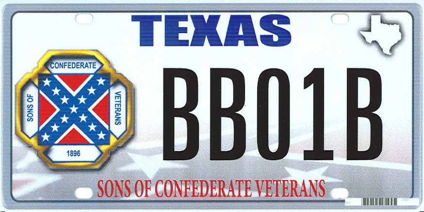This image provided by the Texas Department of Motor Vehicles shows the design of a proposed Sons of Confederate Veterans license plate. Eleven years ago, when the NAACP stepped up a campaign to remove the Confederate battle flag from statehouses and other government buildings across the South, it found an opponent in then Lt. Gov. Rick Perry. Perry argued that states should honor their history and decide on appropriate displays. A related issue may rise this fall when Texas decides whether to allow specialty license plates featuring the Confederate flag. (AP Photo/Texas Department of Motor Vehicles)