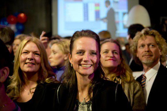 PVV-kamerlid Fleur Agema tijdens de verkiezingsavond na de gemeenteraadsverkiezingen, de avond waarop Wilders de gewraakt oproep voor minder Marokkanen.