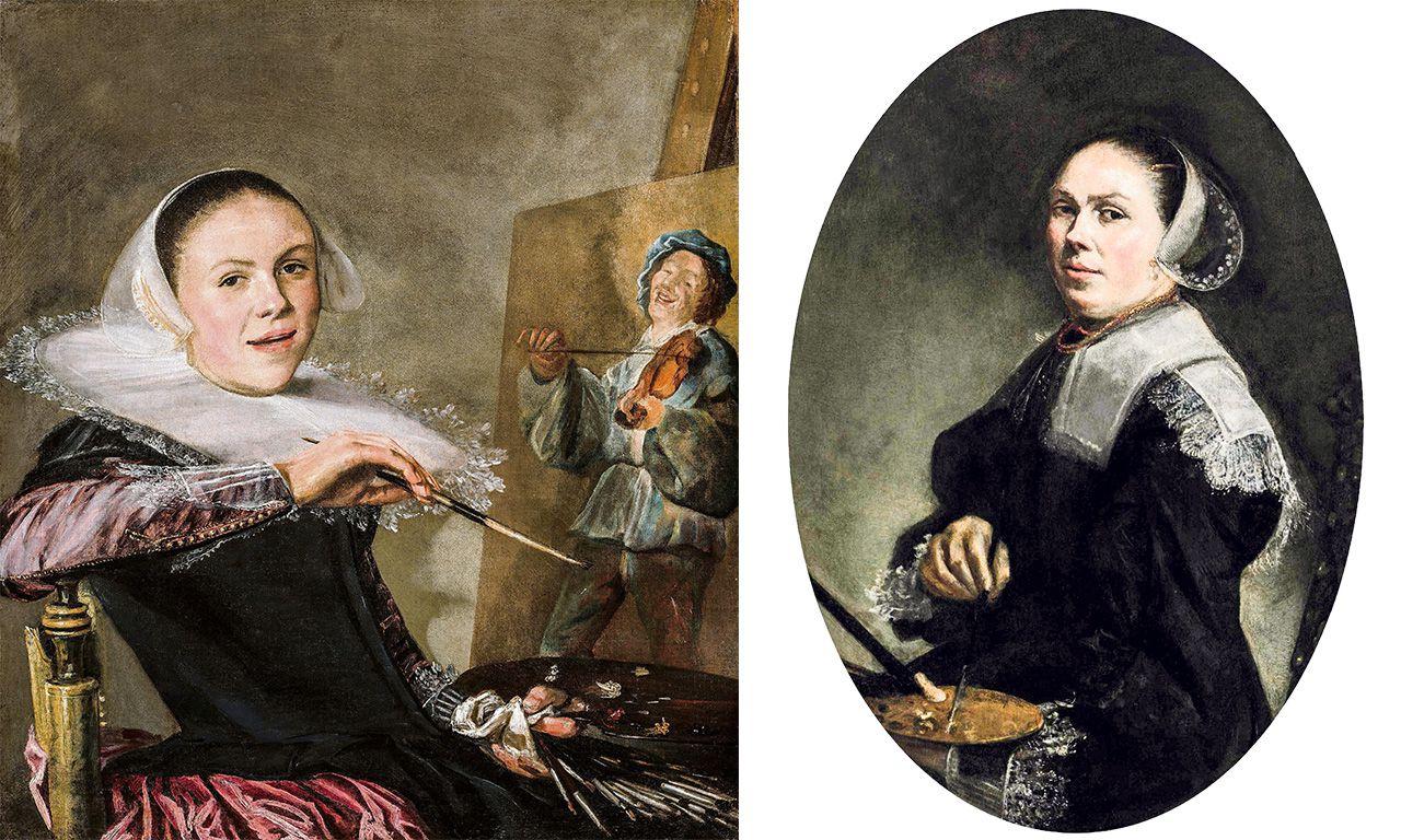 Links: Het bekende zelfportret van de jonge Judith Leyster, circa 1630. Rechts: Het herondekte zelfportret van Judith Leyster van rond 1650.
