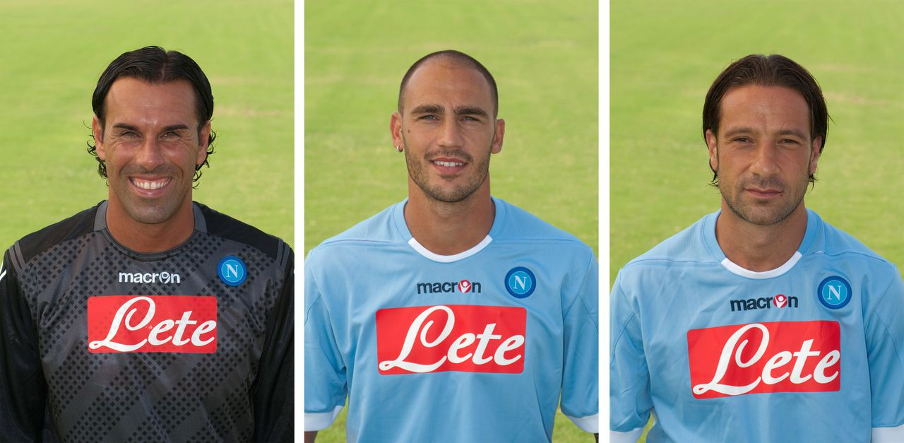 "(FILES) This combo made of file pictures taken on July 22, 2011 shows (From L) Napoli goalkeeper Matteo Gianello, captain Paolo Cannavaro and goalkeeper Matteo Gianello posing during an official team photo. The Italian football federation (FIGC) said on December 18, 2012 that Napoli have been docked two points and fined 70,000 euros ($92,000, 57,000 pounds) in connection with a long-running probe into illegal betting with captain Paolo Cannavaro and fellow defender Gianluca Grava banned for six months for ""failing to report evidence of corruption"", and former goalkeeper Matteo Gianello suspended for three years and three months for his involvement in an attempt to fix the match between Napoli and Sampdoria on May 16, 2010. AFP PHOTO / FILES / AIC PHOTO"