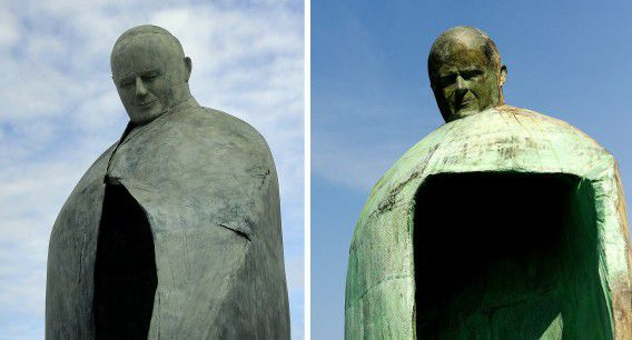 A combination of two pictures showing (at R) a 5.5m tall bronze statue of the late Pope John Paul II on May 19, 2011 and (at L) a giant statue of Pope John Paul II displayed outside Rome's Termini train Station on November 19, 2012. The city of Rome today inaugurated the revamped version of the statue after the first one, unveiled in May 2011 was widely criticized. AFP PHOTO/ Filippo MONTEFORTE