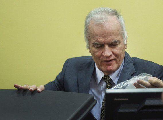 Oud-legerleider Ratko Mladic tijdens een zitting voor het Joegoslaviëtribunaal in 2012.