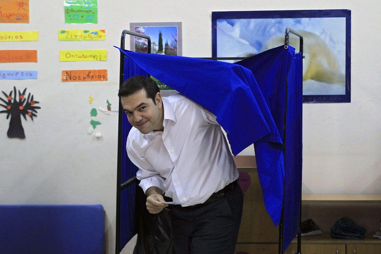 Alexis Tsipras heeft zijn stem voor de parlementsverkiezingen uitgebracht in Athene.