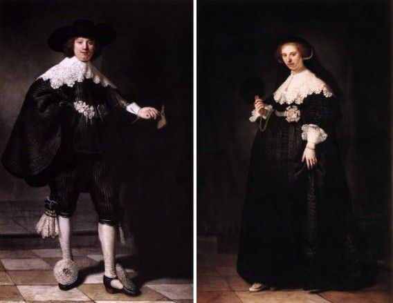 De huwelijksportretten van Maerten Soolmans en Oopjen Coppit, geschilderd door Rembrandt.