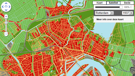 Rotterdam in 1937. Afbeelding: Maps+Motion