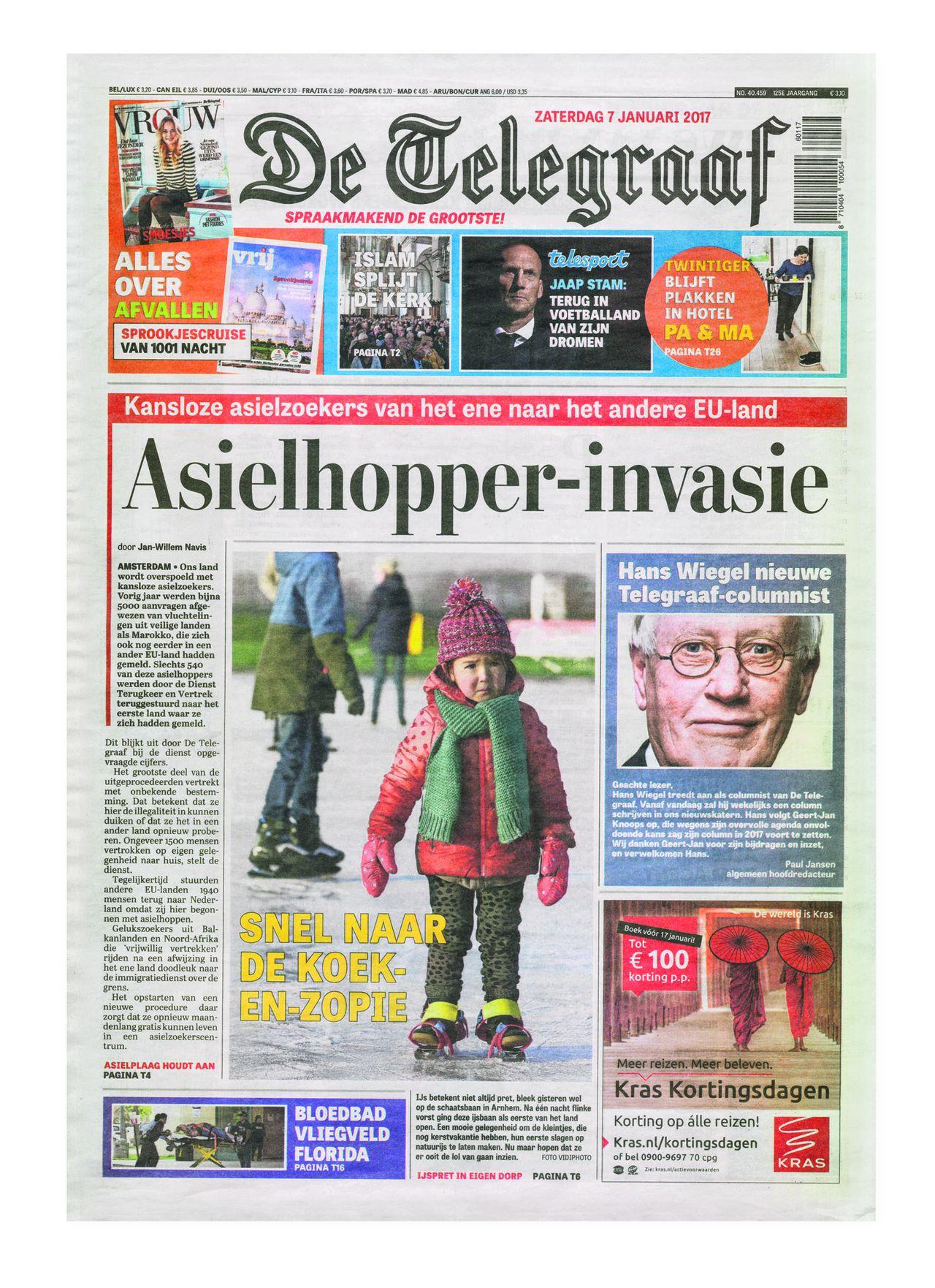 Voorpagina van De Telegraaf van zaterdag 7 januari 2017.