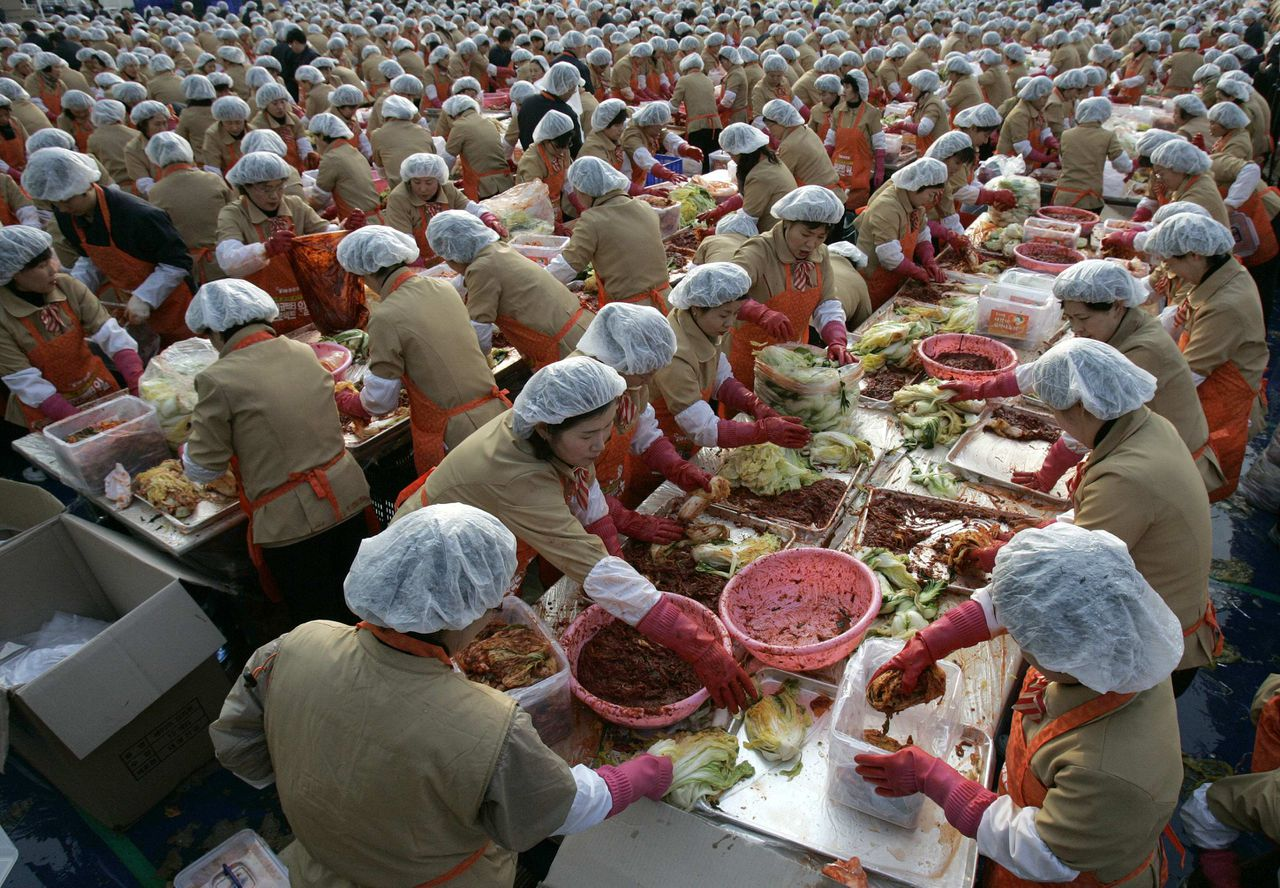 """Seoel, 20 november 2008 Foto Reuters Employees of Korea Yakult make the traditional side dish """"kimchi"""", or fermented cabbage, during a donation drive in front of Seoul city hall November 20, 2008. About 5,000 of the company's employees participated in the event on Thursday, held in six cities including Seoul, Busan and Incheon, to make kimchi from 120,000 cabbages to donate to the needy during the winter season. REUTERS/Jo Yong-Hak (SOUTH KOREA)"""