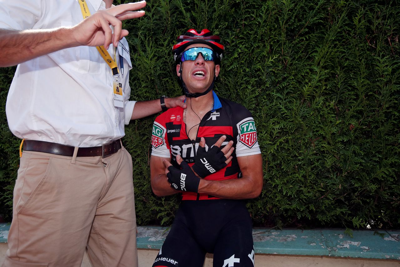 Richie Porte na de crash zondag.