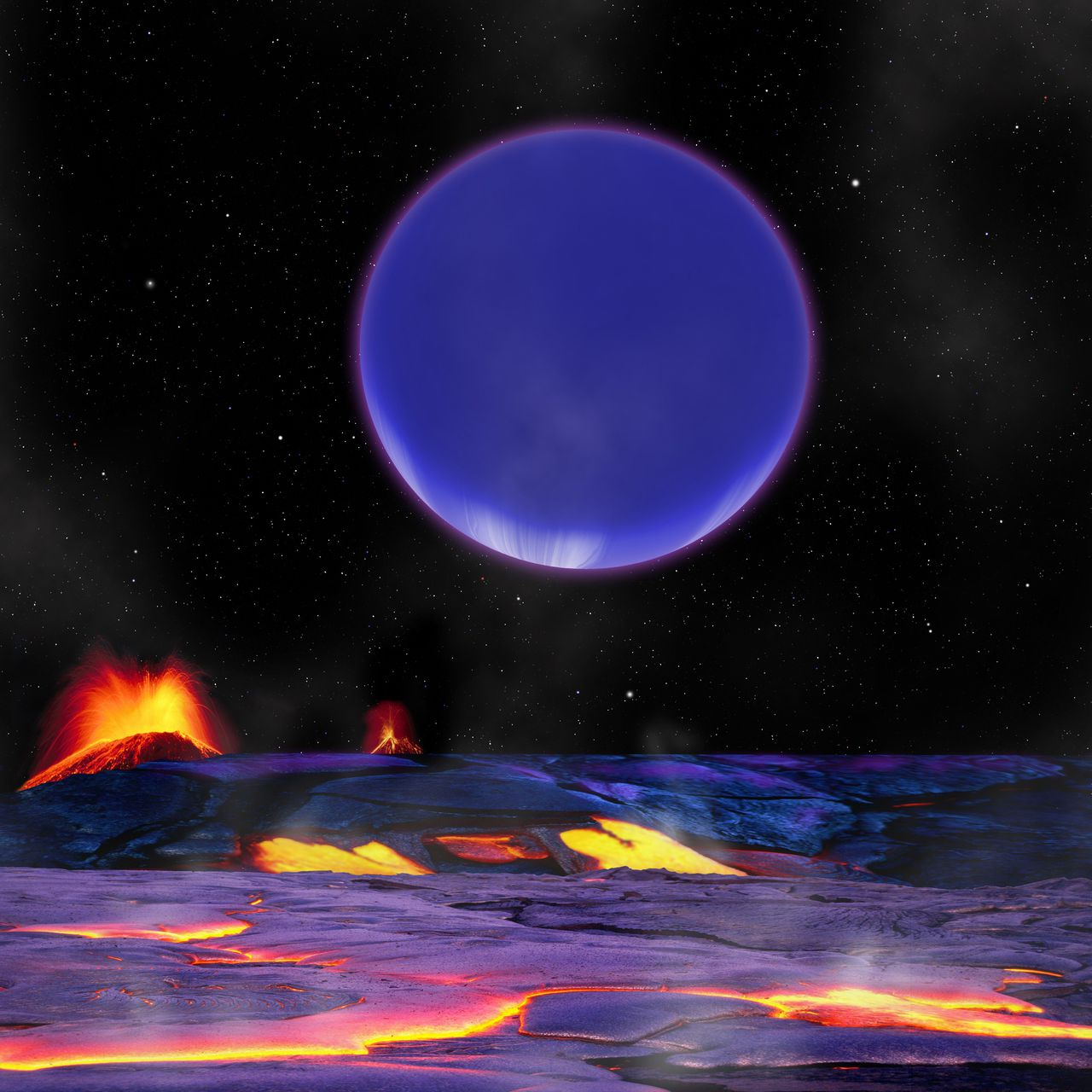 """ATTENTION - EMBARGO - RELEASABLE JUNE 21, 2012 AT 1800 GMT(14:00 ET). THIS RESTRICTION APPLIES TO ALL MEDIA INCLUDING WEBSITES TO GO WITH AFP STORY US-SCIENCE-ASTRONOMY This image courtesy of Harvard-Smithsonian Center for Astrophysics shows an artist's conception, of a """"hot Neptune"""" known as Kepler-36c as it looms in the sky of its neighbor, the rocky world Kepler-36b. The two planets have repeated close encounters, experiencing a conjunction every 97 days on average. An odd pair of distant worlds -- one rocky like Earth and another gassy like Neptune -- have been found doing the closest dance of any planetary pair ever discovered, US scientists said on June 21, 2012. The duo are orbiting their star about 1,200 light years from Earth, and were discovered with NASA's Kepler space telescope which launched in 2009 in search of Earth-like planets orbiting stars similar to our Sun. Their star is probably a lot like our Sun but several billion years older, and the planets are much closer to it, said the study in Science Express, the online edition of the journal Science. AFP PHOTO/HARVARD-SMITHSONIAN CENTER FOR ASTROPHYSICS/HANDOUT/RESTRICTED TO EDITORIAL USE - MANDATORY CREDIT """" AFP PHOTO / - NO MARKETING NO ADVERTISING CAMPAIGNS - DISTRIBUTED AS A SERVICE TO CLIENTS"""