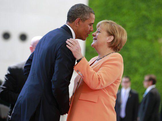 Obama en Merkel tijdens een bezoek van de Amerikaanse president aan Duitsland afgelopen juni.