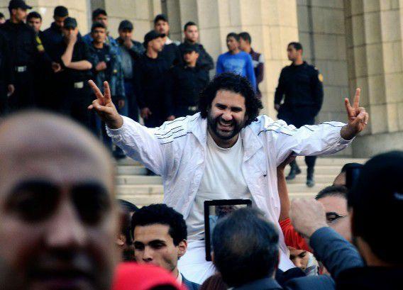 Alaa Abdel-Fattah na zijn vrijlating uit de gevangenis in maart 2013.