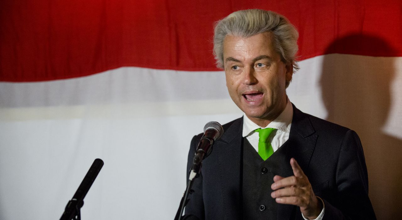 Geert Wilders, the leader of the Freedom Party, speaks to his supporters on election night in a cafe in the Hague.
