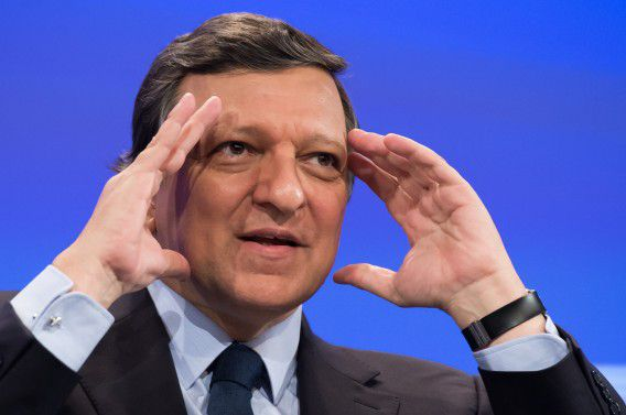 European Commission President Jose Manuel Barroso gestures as he addresses the media after the weekly college meeting at the European Commission headquarters in Brussels, Wednesday April 25, 2012. (AP Photo/Geert Vanden Wijngaert)