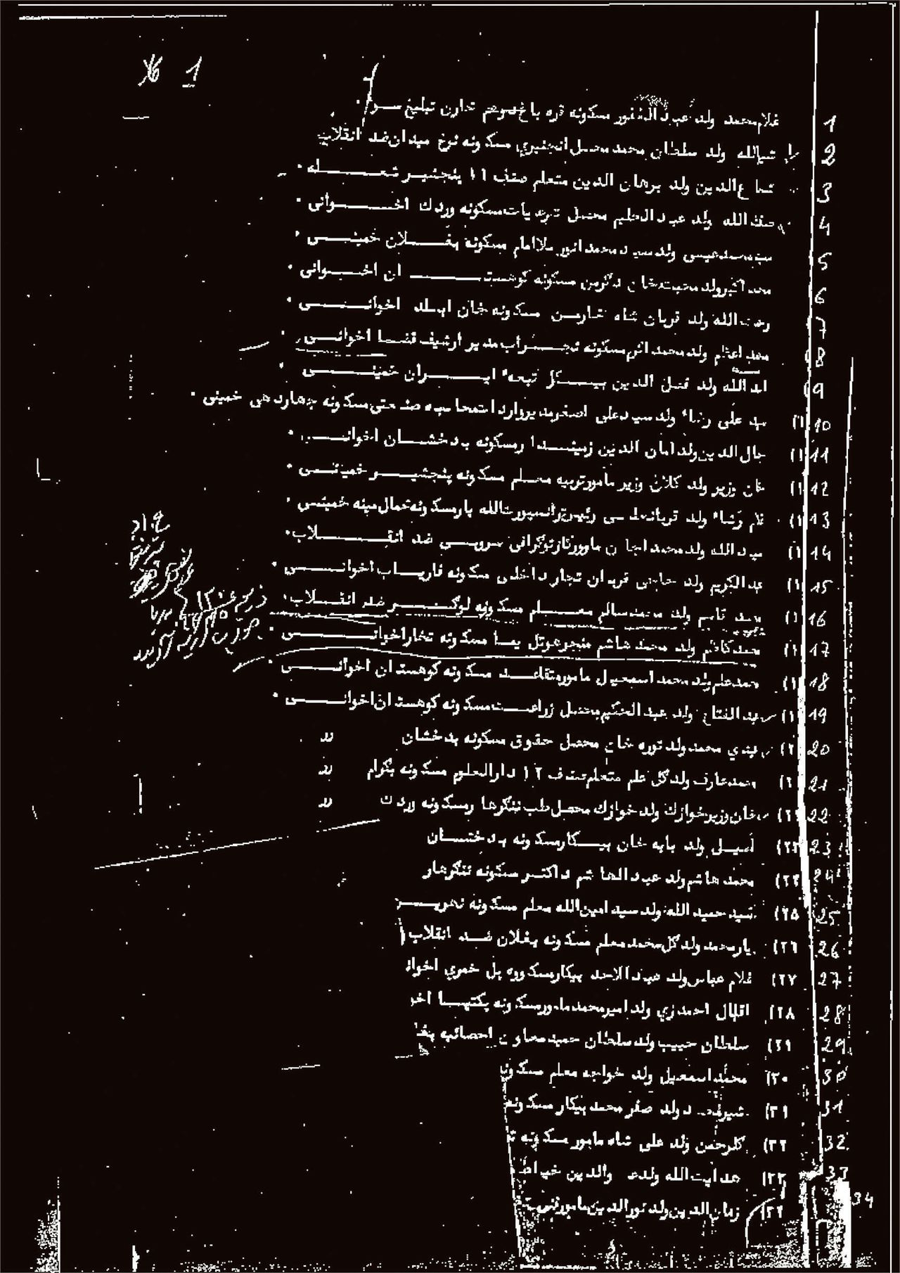 De Afghaanse dodenlijst bestaat uit 154 pagina's in het Dari met de namen van ongeveer 4.700 mensen die in 1978 en 1979 opdracht van de Afghaanse overheid zijn geëxecuteerd. De namen staan op alfabetische volgorde.
