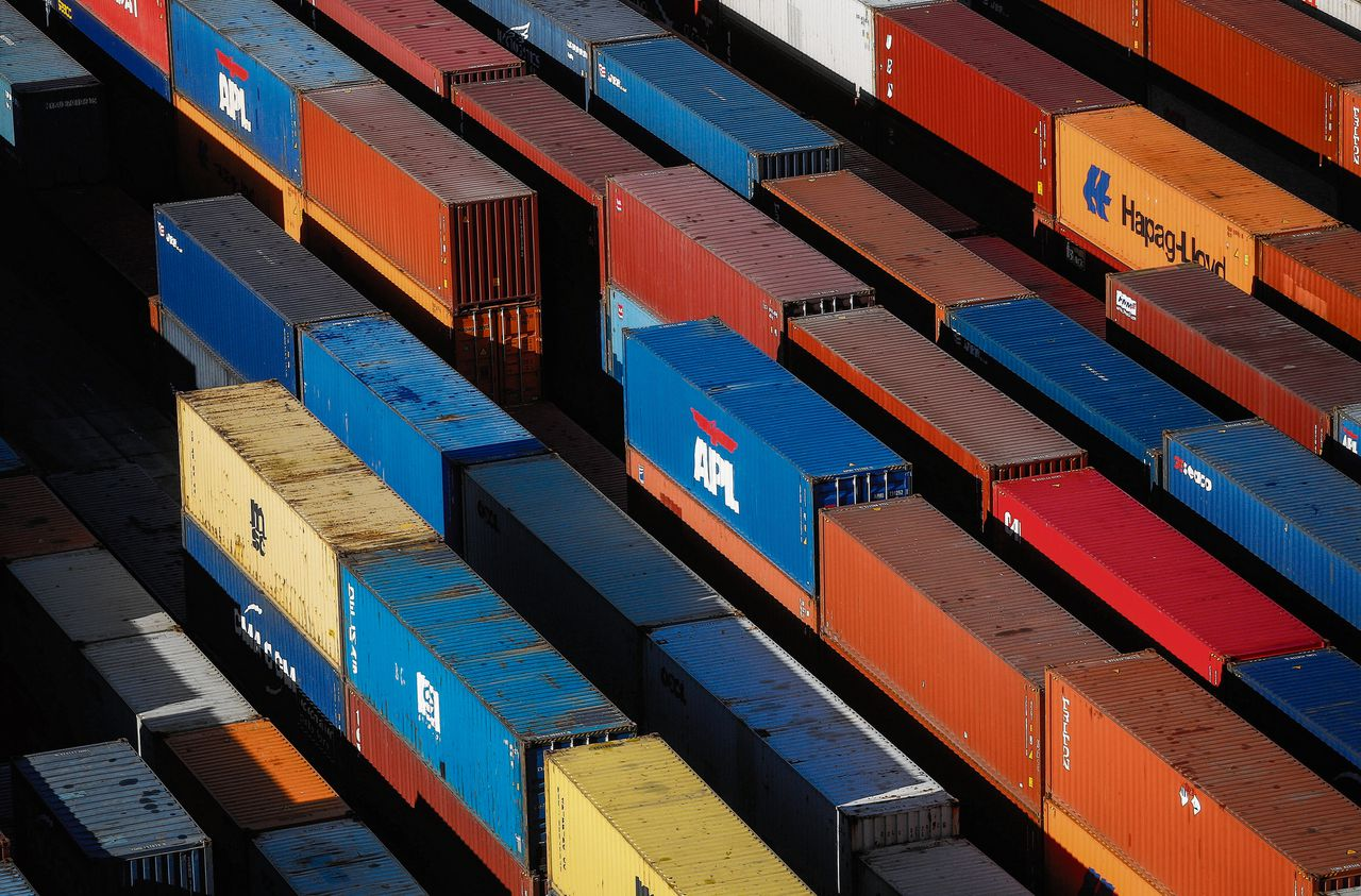 Containers in de Britse haven Southampton