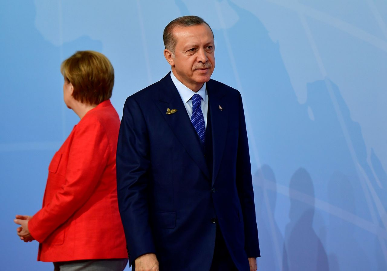 Erdogan en Merkel tijdens de G20-top in Hamburg, begin juli.