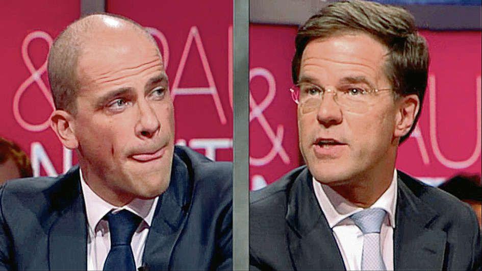 Splitscreen van Samsom en Rutte in 'Pauw & Witteman'