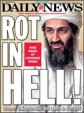 """De voorpagina van The Daily News heeft de meest opvallende kop: """"Rot In Hell!"""""""