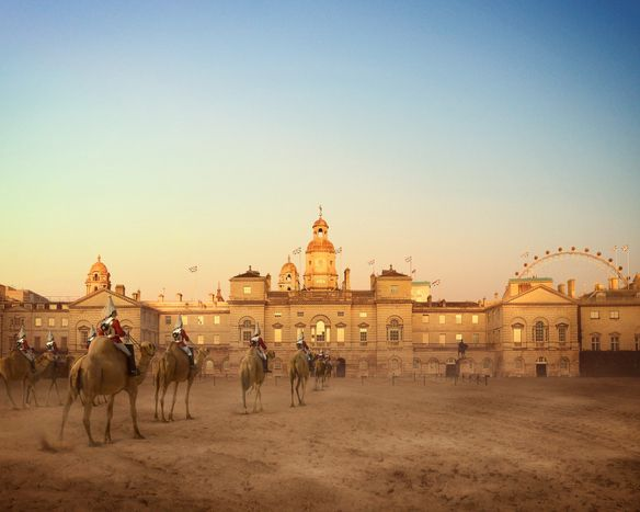 Traditional rituals have altered beyond recognition, along with the climate. Here, on Horse Guards Parade, horses have been replaced by camels - animals that can withstand the heat of the parade ground. The change was controversial but the London Tourist Board argued strongly in favour. Tourism remains important for London's economy.