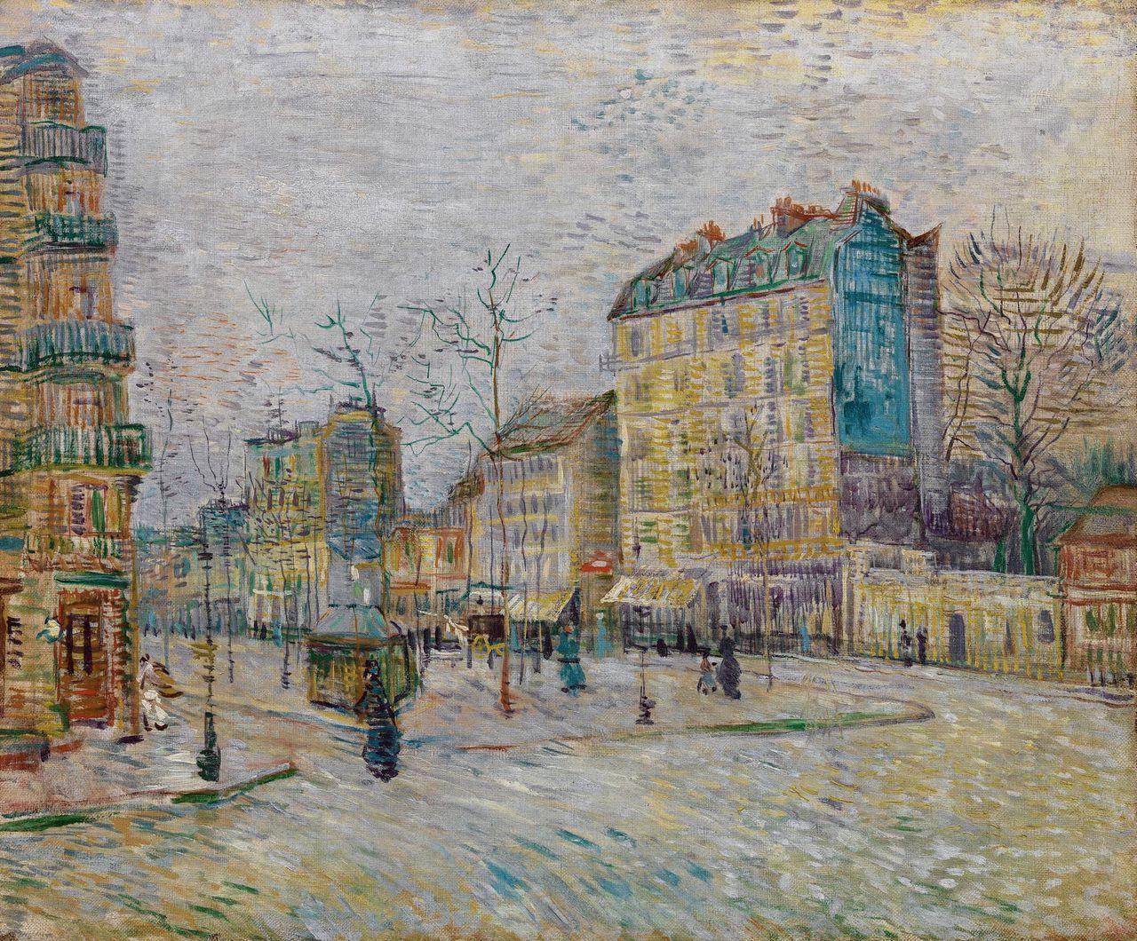 Vincent van Gogh Boulevard de Clichy, 1887. Op de plek van de boom rechts werd twee jaar later de Moulin Rouge geopend.