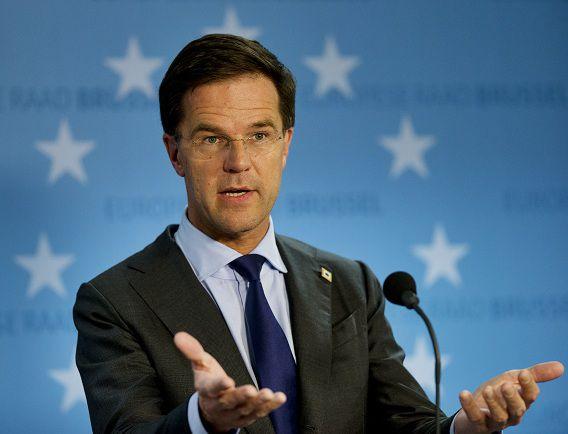 Premier Mark Rutte beantwoordt vragen aan het eind van dag een op de EU-Top in Brussel. Daar zei hij ook dat hij niet meer met Wilders wil samenwerken.