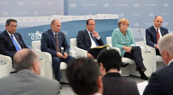 De Indonesische president Susilo Bambang Yudhoyono, de Russische president Poetin, de Franse president Hollande, bondskanselier Merkel en de Italiaanse premier Letta tijdens de G20. Rusland zou hebben geprobeerd delegaties van andere landen af te luisteren tijdens de top.