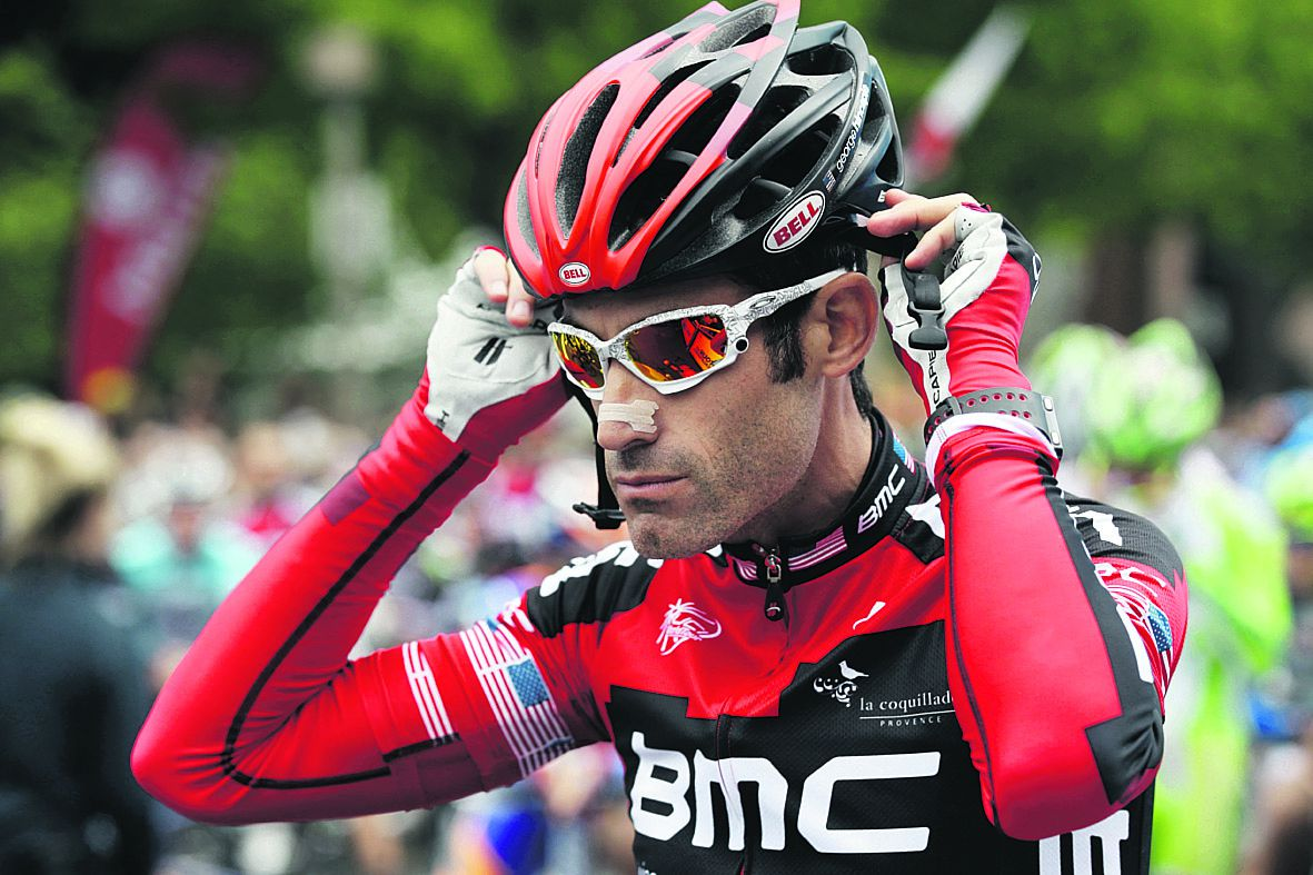 George Hincapie prepares for Stage 1 of the Tour of California cycling race, Sunday, May 13, 2012, in Santa Rosa, Calif. (AP Photo/Marcio Jose Sanchez)