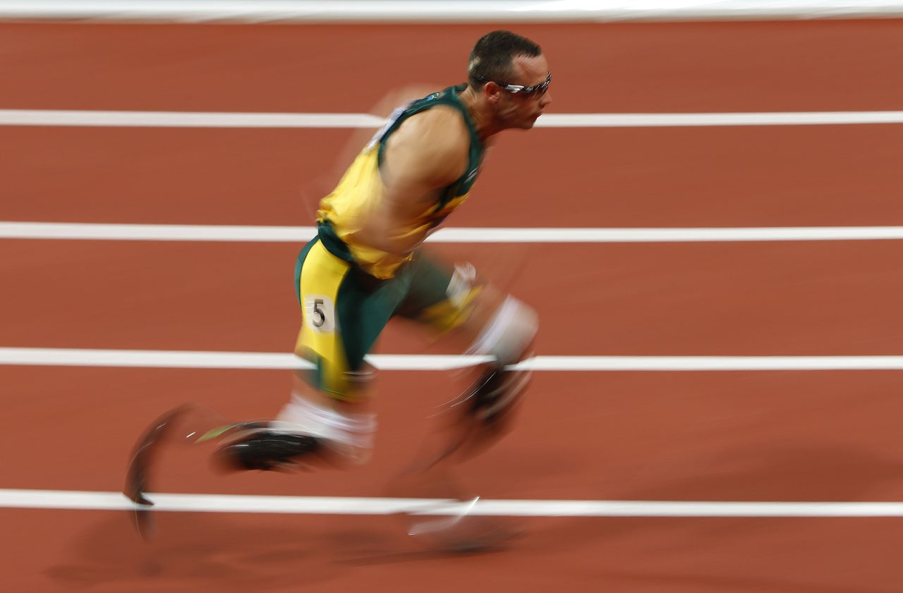 South Africa's Oscar Pistorius competes in his men's 400m semi-final during the London 2012 Olympic Games at the Olympic Stadium in this August 5, 2012 file photograph. To match OLY-END-MOMENTS-2012/ REUTERS/David Gray (BRITAIN - Tags: SPORT ATHLETICS OLYMPICS)