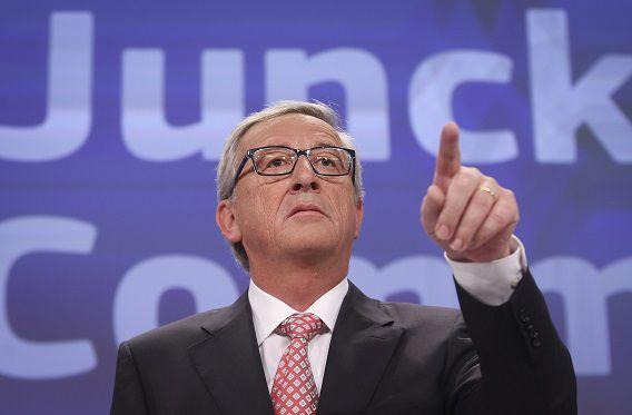 De persconferentie van Jean-Claude Juncker in Brussel.