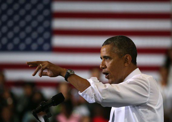 Obama spreekt over de zorg op Prince Georges Community College in Largo, Maryland.