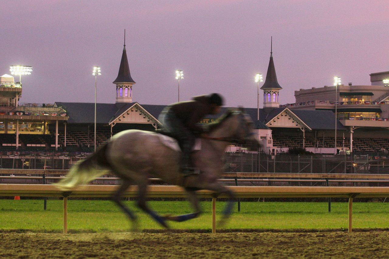 LOUISVILLE, KY - NOVEMBER 03: A horse gallops on the track during morning workouts for the upcoming Breeders' Cup World Championships at Churchill Downs on November 3, 2011 in Louisville, Kentucky. Rob Carr/Getty Images/AFP == FOR NEWSPAPERS, INTERNET, TELCOS & TELEVISION USE ONLY ==