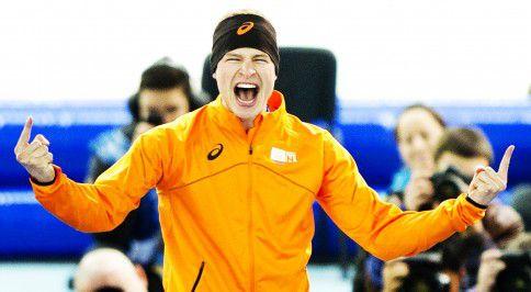 Ontlading bij Sven Kramer na het behalen van de gouden medaille op de 5.000 meter.